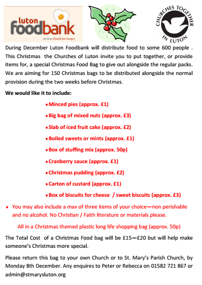 Food Bank Christmas Flyer 13 Luton Quakers